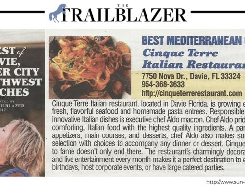 """Best Mediterranean Cuisine"" Award 2017"